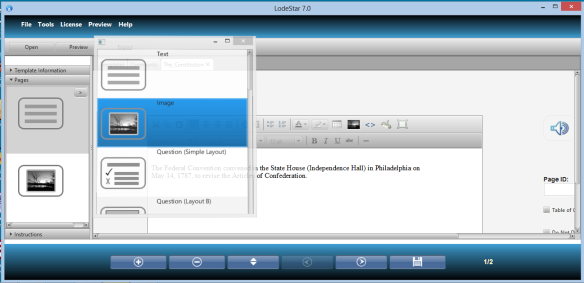 LodeStar eLearning Authoring tool Layout Manager