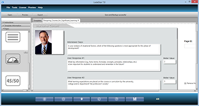 Screenshot of LodeStar eLearning Authoring tool -Interview Page