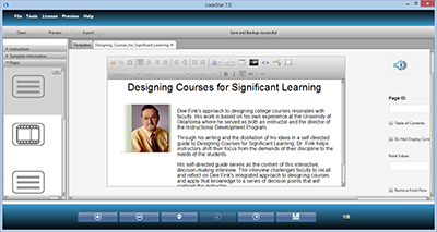 A screenshot of LodeStar eLearning authoring tool