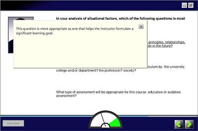 Screenshot of LodeStar eLearning Authoring tool -Feedback Page