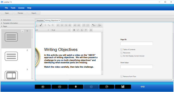 Screenshot of the LodeStar eLearning authoring tool