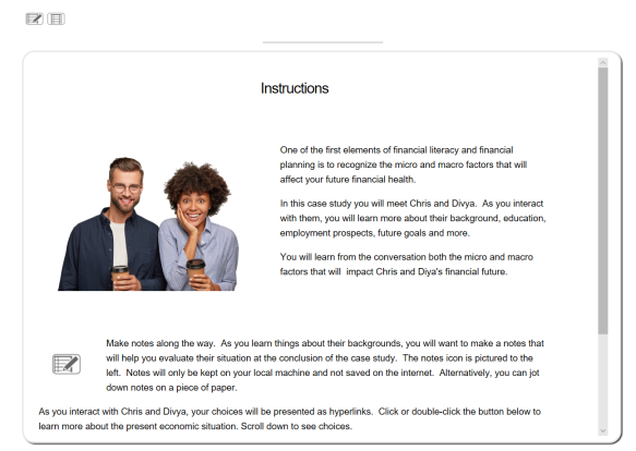 Screenshot of instructions and first introduction to Chris and Divya, the characters in the case study.