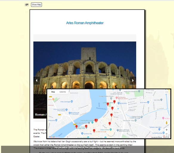 Screenshot of a Geolocation project.